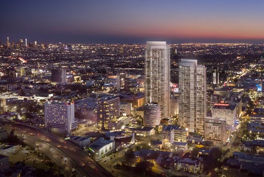 Bird's-eye view of the proposed Hollywood Center development. Image: MP Los Angeles.