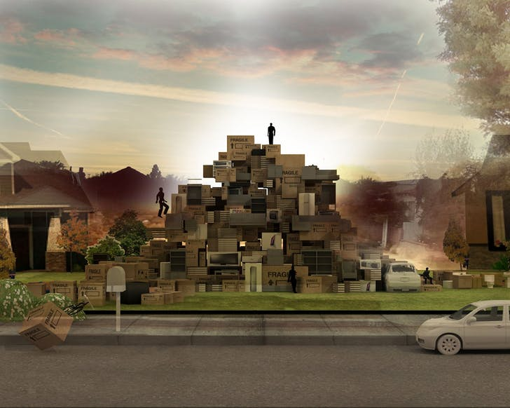 In his project 'Domesticated Mountain,' shown in both images above, Angelidakis attempts to reconsider the suburban home within the context of the internet. He writes, 'In this internet suburbia no more houses are designed, because enough readymades exist already.' Credit: Andreas Angelidakis