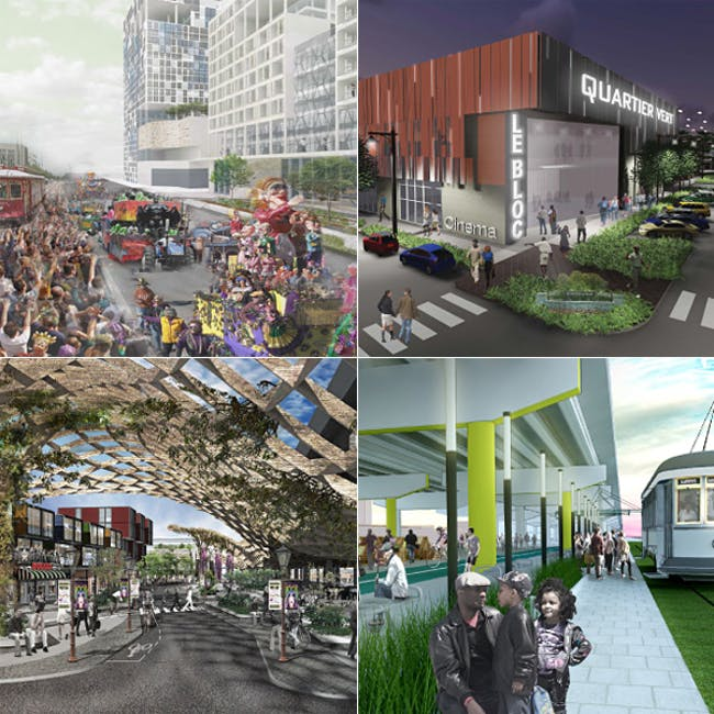 """2015 ULI Hines competition finalists (starting on the L, clockwise): Harvard University: """"Tremé 2.0""""; University of Wisconsin - Milwaukee and University of Wisconsin - Madison: """"Quartier Vert""""; Harvard University: """"Claiborne Grove""""; University of Maryland: """"The Crossing"""""""
