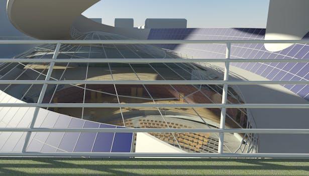 Solar Spiral, Solar Panels from the Roof Garden