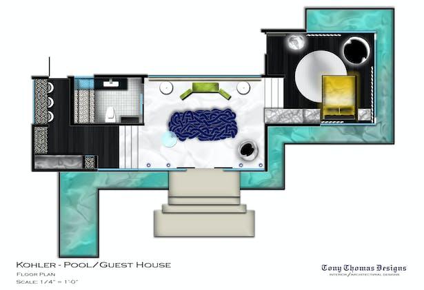 KOHLER GUEST/POOL HOUSE - FULL HOUSE PLAN