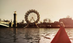 Temporary wooden ferris-wheel hotel proposed for the Seine River