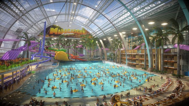 DreamWorks themed Interior render of Water Park wave pool