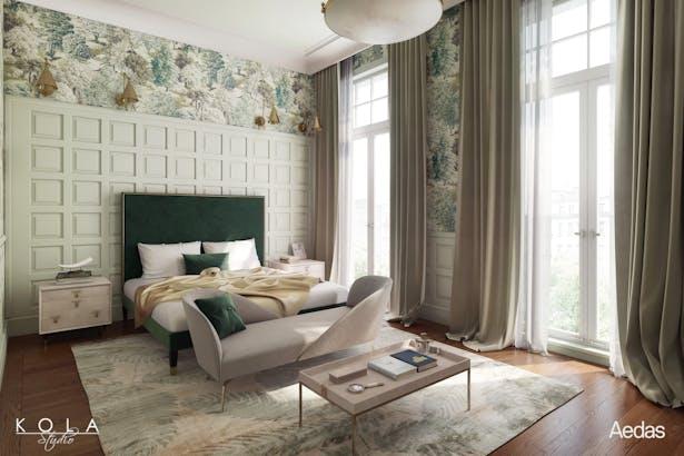 Transitional Bedroom Kola Studio Architectural Visualizations Archinect