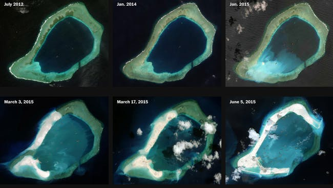 Progress on Subi Reef includes two cement plants. Credit: CSIS Asia Maritime Transparency Initiative/DigitalGlobe via Washington Post
