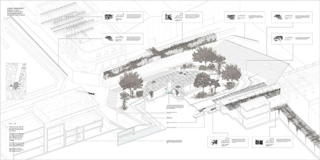 Isometric cutaway of urban hub. To enhance the area surrounding the hub the design was developed using the relationship between site and edge condition of the intervention to allow social choreography and take advantage of environmental conditions. This urban hub allows for more points of access and provides shortcuts to some programs, but the cleanliness aspect is still strongly emphasized through out. For example there are compulsory hand and foot washing areas at all entrances. The planted...