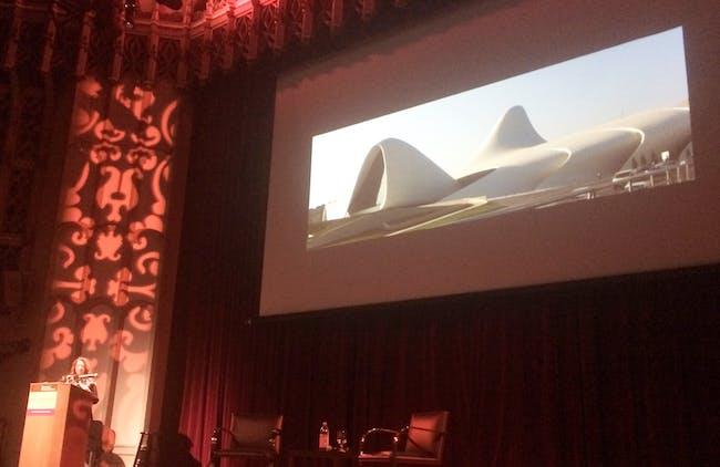 Zaha Hadid presents her Azerbaijan Cultural Center. Photo by Anthony Morey.