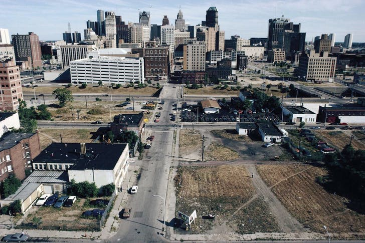 Downtown Detroit, 1991. At the time of this photograph, Detroit had the highest concentration of abandoned skyscrapers anywhere in the world. Image: Camilo Jose Vergara