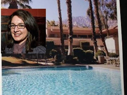 Cory Tschogl and her Palm Springs' rental. Image via Business Insider.
