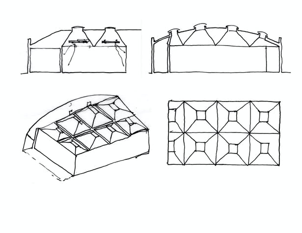 kayne griffin corcoran gallery - architect's sketches