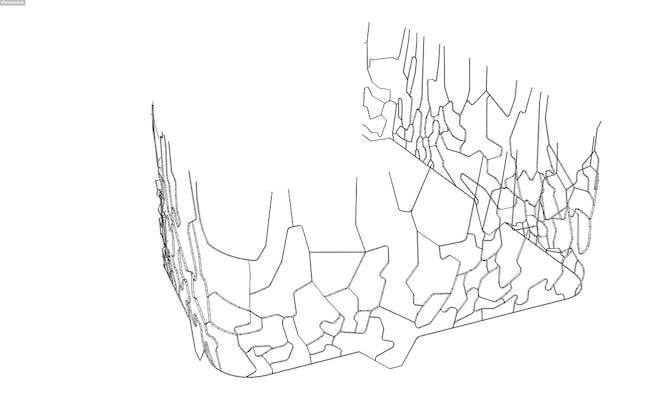 wynwood facade fin layout- 3d diagram of aluminum fin system that projects  outward from the