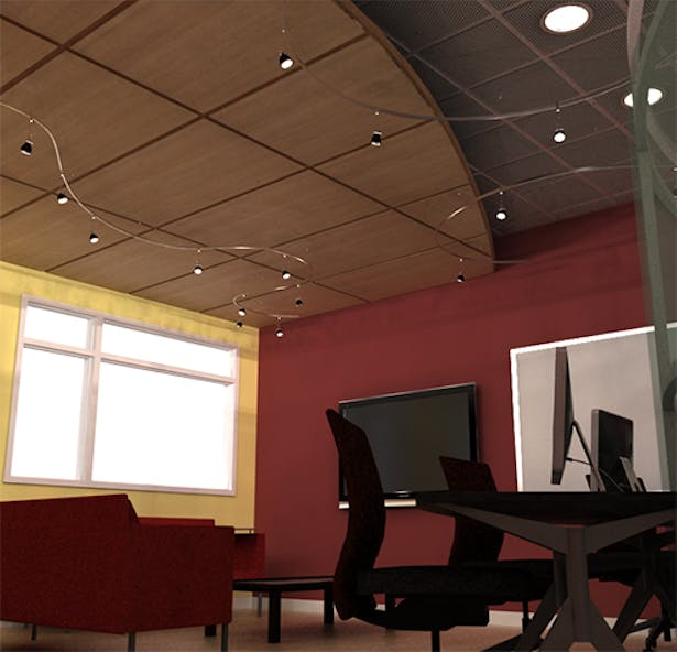 View of ceiling that uses different materials and heights to help divide the program
