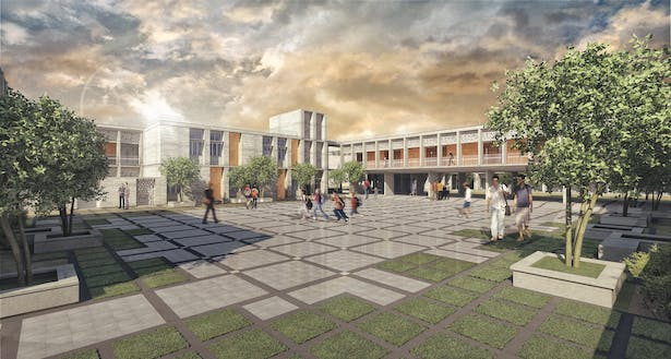 The Cultural and Academic Center blocks are placed in between the classroom blocks modulating the courtyards and giving them each a distinct character. Each courtyard was assigned a function based on its spatial qualities which guided its landscape design.