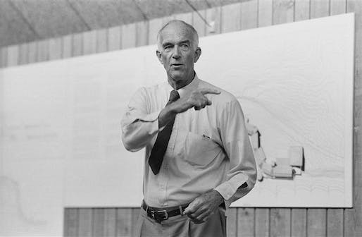 Ready for his close-up? Utzon, pictured here lecturing, died in 2008 after receiving the Order of Australia in 1985. Photo: via politiken.dk