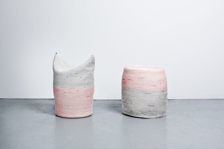 'Two Stools' stitched cotton rope, wood, flexible foam, 2012. Photo by Michael Popp