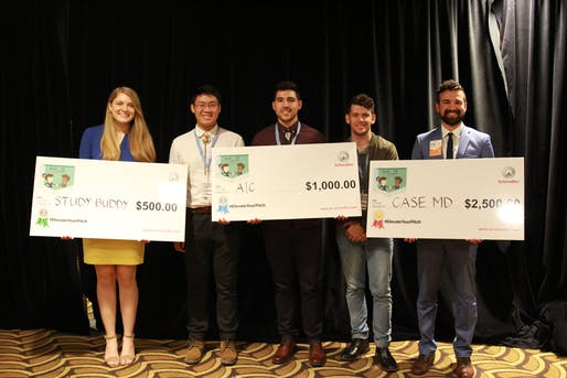 The Elevate Your Pitch finalist winners with their cash prizes. Photo courtesy of the AIAS.