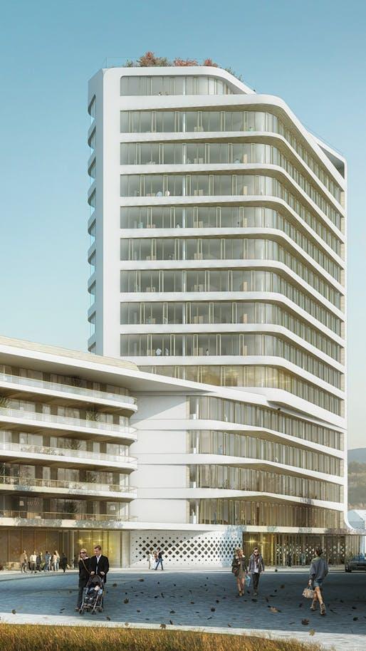 UNStudio's winning design for the Baumkirchen Mitte complex in Munich. Image: UNStudio
