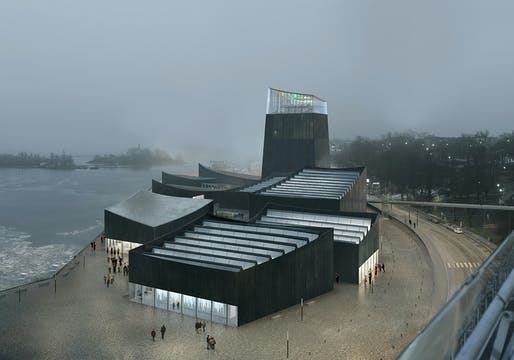 Rendering of the winning design for the new Guggenheim Helsinki 'Art in the City' by Moreau Kusunoki Architectes.