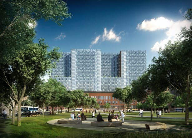 OSU - Outsourced 3D Rendering. (South facade perspective view from Spirit of Women Park)