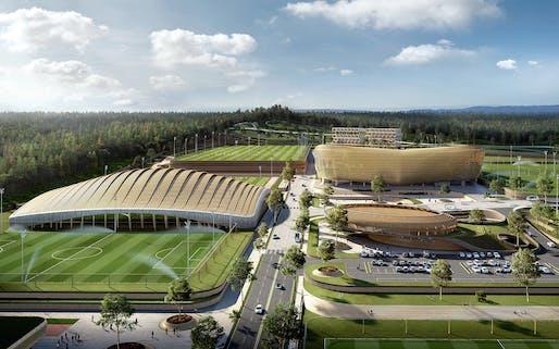 Rendering of UNStudio's Korean National Football Centre design. Visualization: Brick Visual.