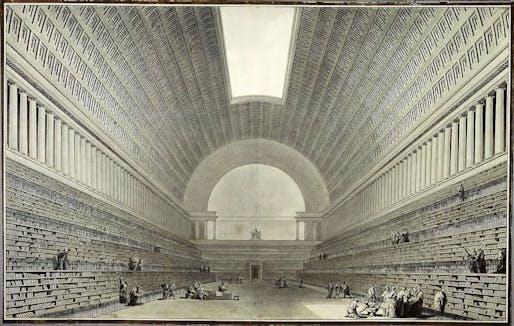 Boullée, Deuxieme projet pour la Bibliothèque du Roi (1785). Image: Wikipedia