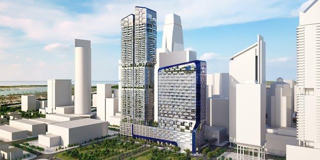 Rendering of the new UIC building, 'V on Shenton', in Singapore, designed by Ben van Berkel / UNStudio (Image: UNStudio)