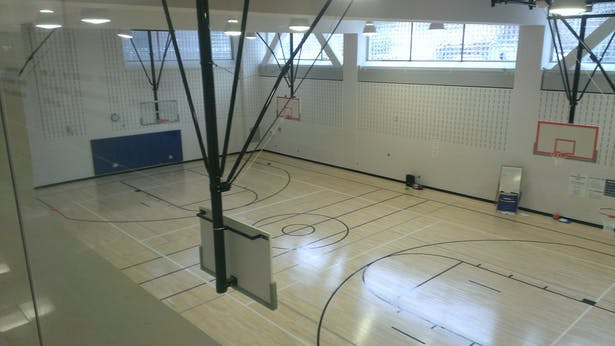 View from lobby down into gymnasium.