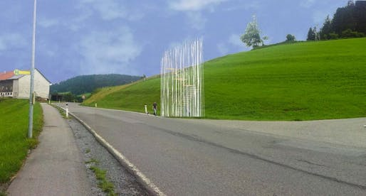 "Japanese architecht Sou Fujimoto's stop is a ""wild forest of thin steel and wooden poles"" arranged around a spiral staircase. While interesting to behold, it does not provide much shelter from the elements. (BUS:STOP Krumbach/ Sou Fujimoto)"