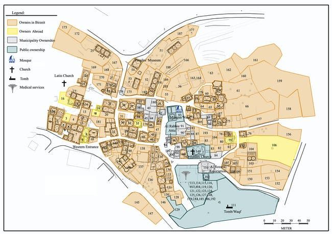 Revitalization of Birzeit Historic Center: Map of the Birzeit historic center. Photo: AKAA / RIWAQ