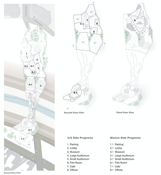 Floor plans showing the different functions throughout the building.