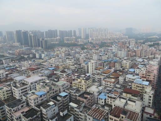 Aerial view of the Baishizhou urban village in Shenzhen's inner district. (Photo: Maurice Veeken)