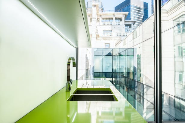 Crisp detailing refelects the high quality of the office environment.