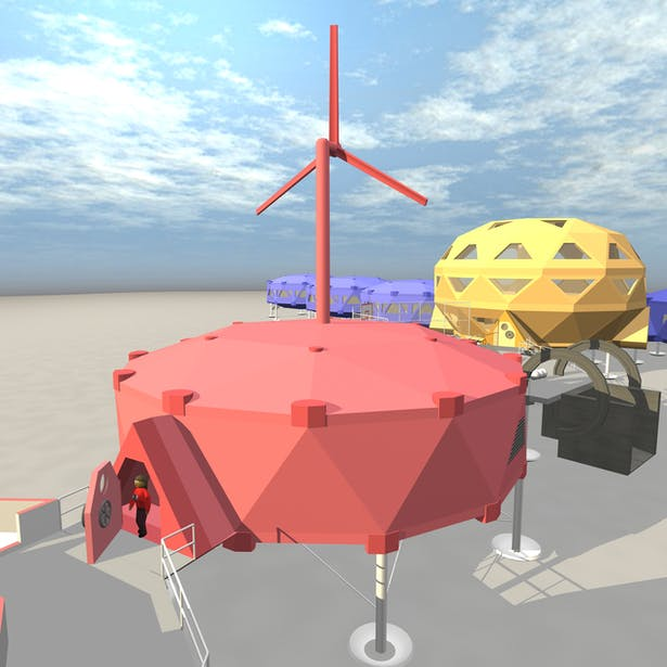 The stations plant module is where all the energy for the plant is generated, as well as where all the waste water is treated. Above the module is a large wind turbine that takes advantage of Antarctica's high katabatic winds. The module is isolated between the two bridge modules to ensure that the rest of the modules experience minimal ammounts of sound and air polution.