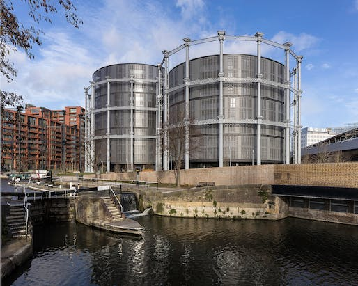 Gasholders London, N1 by WilkinsonEyre and Jonathan Tuckey Design for King's Cross Central Limited Partnership.