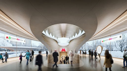 Rendering of the winning entry for the new 'Klenoviy Bulvar 2' station by a ZHA-led consortium. All images courtesy of Mosinzhproekt JSC.