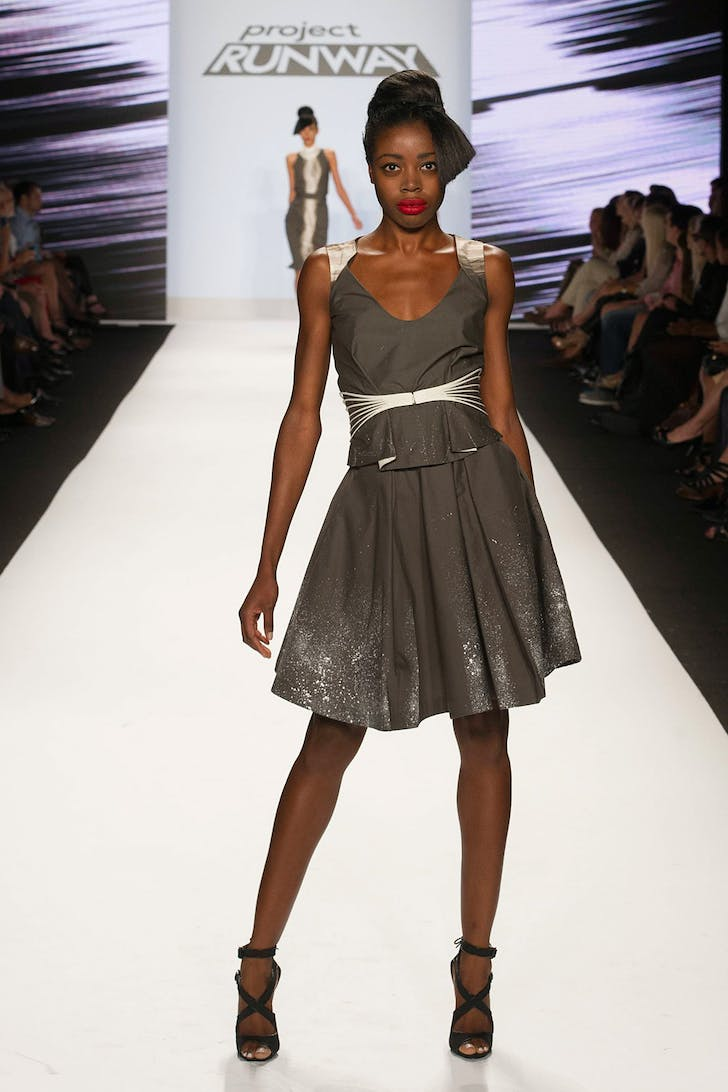 Justin LeBlanc's design for the final challenge of Project Runway season 12, presented at New York Fashion Week, September 2013. Photo © Pawel Kaminski, courtesy of A+E Networks