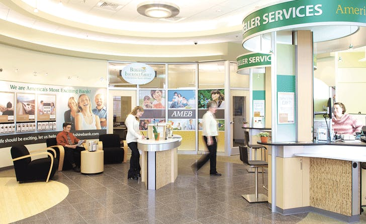 Berkshire Bank's new pod-centered branch design. Image courtesy BusinessWest.com.