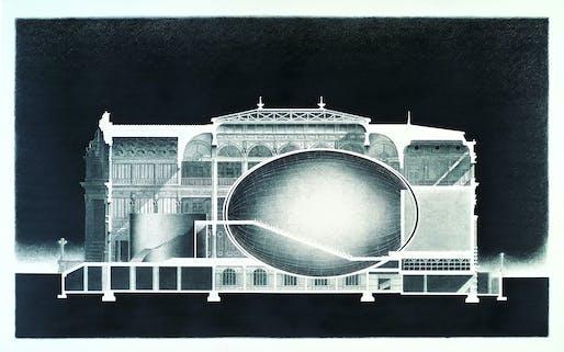 Drawing of Nakanoshima Project II - Urban Egg (proposal). Photo © Tadao Ando Architect & Associates.