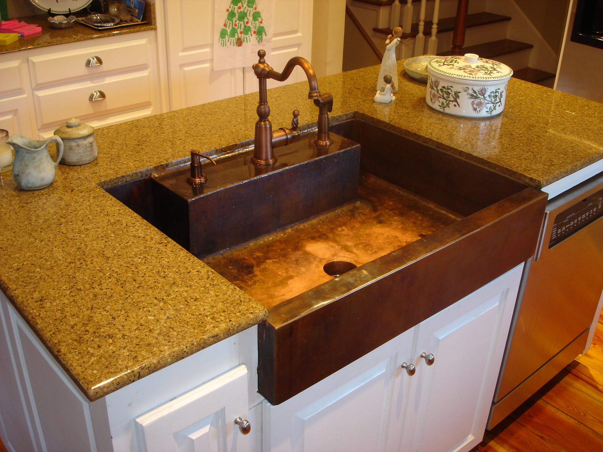 kitchen sink nickel apron website install hammered w single background copper and nb basin front design scroll products