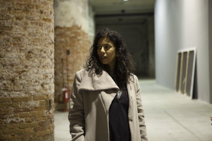 A portrait of Anupama Kundoo in Venice. Image credit: Marta San Vicente