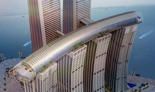 The curved accordion-shaped Conservatory sky bridge is 300 meters long and soars 250 meters high up—a new world record. Image: CapitaLand.