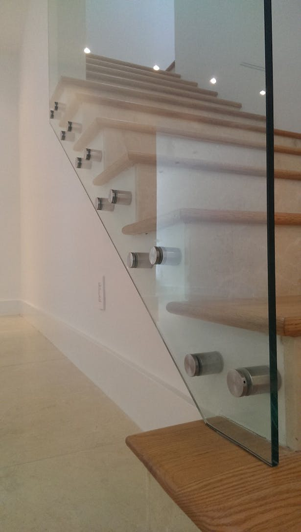 Glass Railing Stainless Steel Standoffs Bella Stairs