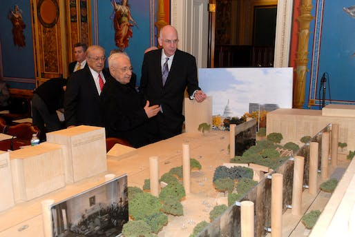 Frank Gehry and members of the Memorial Commission view model of Gehry's Eisenhower proposal. Image via carnageandculture.blogspot.com.