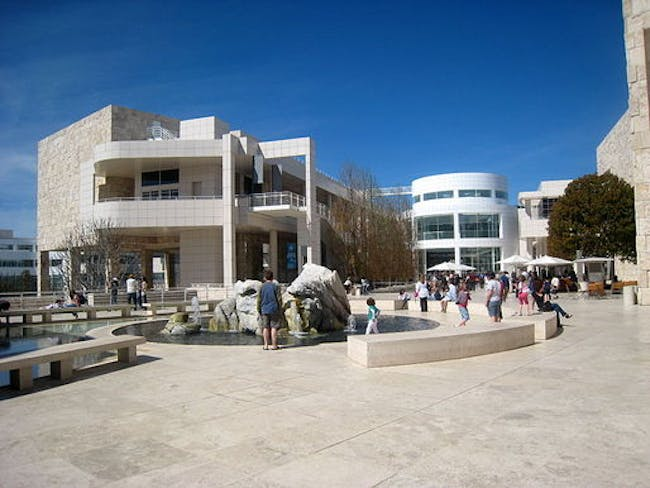 The car-free campus of the Getty Center.