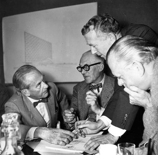 Portrait of Walter Gropius, Le Corbusier, Sven Markelius, and Marcel Breuer, 1952. Image: RIBA Collections.