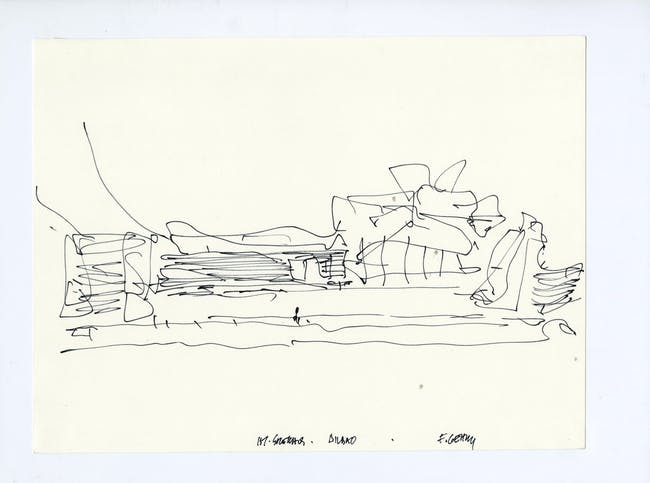 Sketch for Guggenheim Museum Bilbao. Image courtesy of LACMA