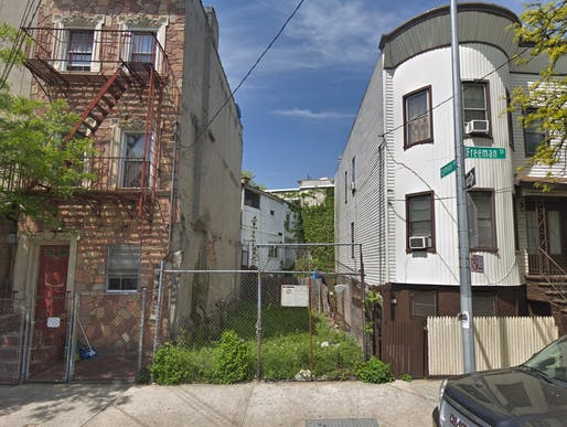 A narrow, 663 square foot vacant lot in the Bronx, where architects will be asked to present housing prototypes and urban infill design strategies.