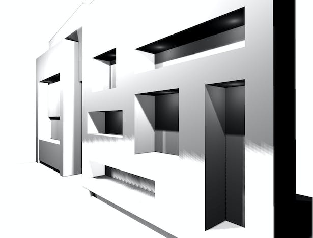 3D render at living room wall