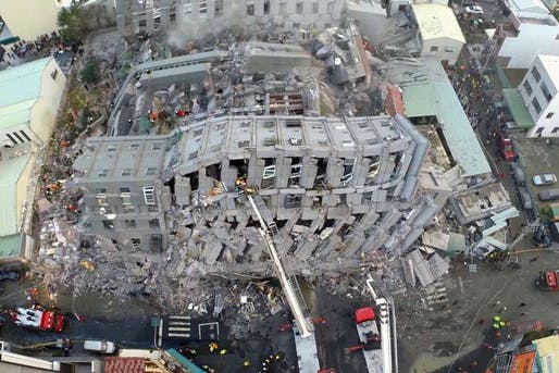 The collapse of the Wei-guan Golden Dragon Building in Tainan during the recent 6.4-magnitude earthquake has reportedly killed at least 24 people, with dozens still missing. Rescue workers discovered oil cans within the building's exposed concrete structure. The cans appear to have been used as cheap fillers in beams. (Photo: Xinhua)