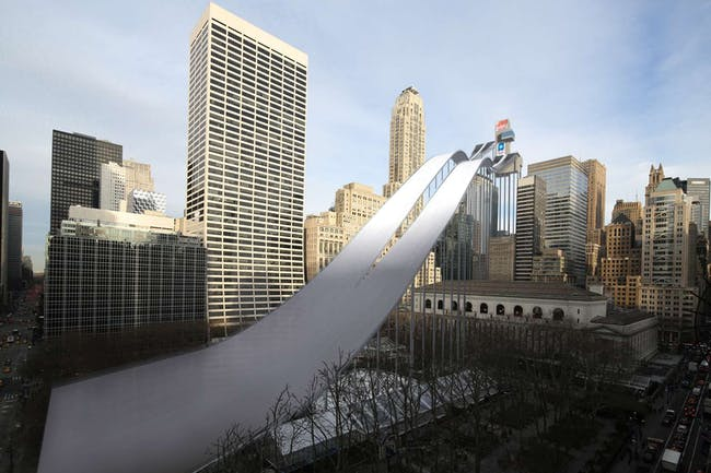 Ski Jumping: The New York Public Library and Bryant Park provide a surfeit of air rights, and scaffolding repurposed from the Fashion Week tent could support the jumps and starting box. Competitors could finish with a breathtaking hockey stop just short of Sixth Avenue, spraying snow and scattering pigeons. Image via nytimes.com